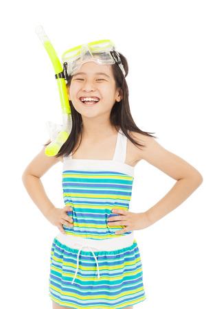 happy asian little girl wearing swimsuit photo
