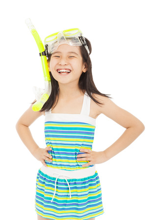 white girl: happy asian little girl wearing swimsuit Stock Photo