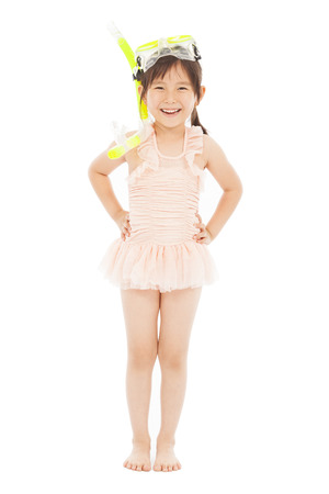 happy little girl wearing swimsuit Stock Photo - 27674421
