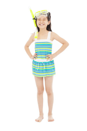 happy little girl wearing swimsuit Stock Photo - 27674423