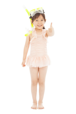 happy asian little girl wearing swimsuit Stock Photo