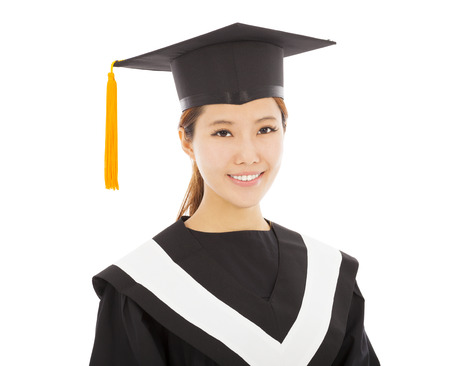 cap and gown: beautiful young woman college graduation
