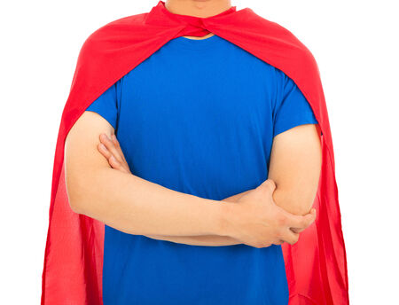 man with super hero shirt photo