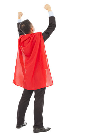 back view successful businessman with super hero red shaw photo