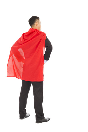 back view businessman with super hero red shaw photo