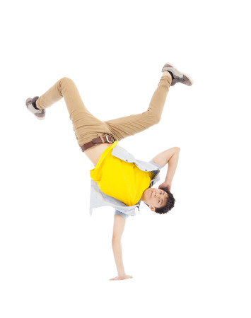 Young handsome man dancing stylish and cool breakdance Stock Photo
