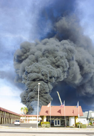 conflagration: hotel serious conflagration produce heavy smoke Stock Photo