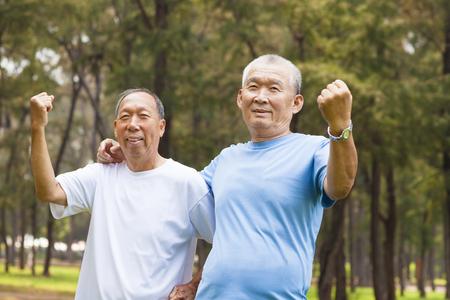 retire: happy senior brothers enjoy retire time in the park