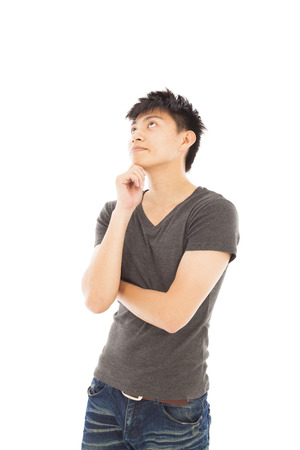consider: young man thinking or doubt on a white background
