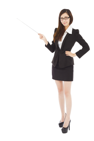 young businesswoman wore a glasses and holding a baton photo