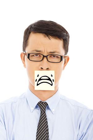 businessman feel helpless and cry expression on sticker Stock Photo