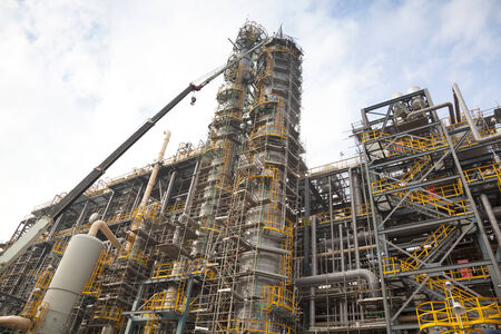 to plant structure: petrochemical or chemical plant structure and design  Stock Photo