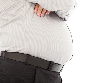 close-up fat business man of  waist and  big abdomen Stock Photo