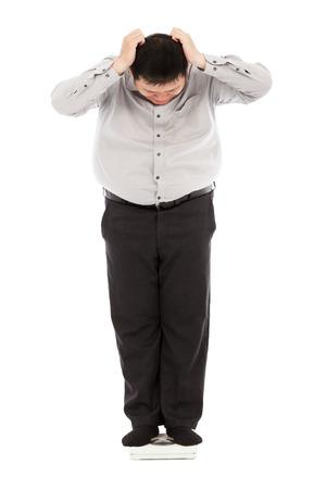 unbelievable: hombre de negocios de grasa demasiado incre�ble su peso para mantener la cabeza