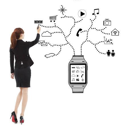 비즈니스 여자 필기 착용 할 수있는 시계 응용 프로그램
