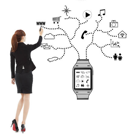business woman handwriting wearable watch applications  photo