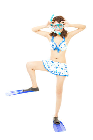 funny young woman make a pose with a scuba equipment photo