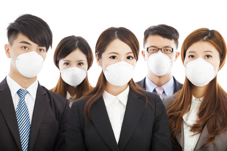 businesses people wearing a mask to express problems photo