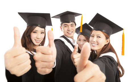 college: happy group graduate students thumbs up together