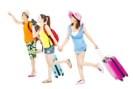 jonge vrienden blij om wereldwijd samen te reizen