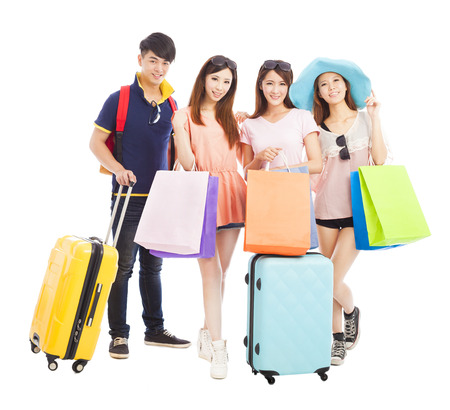 young people travel and shopping together photo