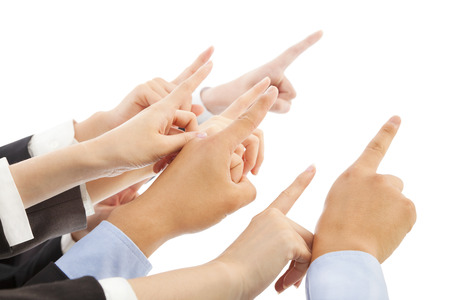 business people hands  showing the same direction photo
