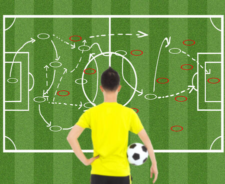 tactic: soccer player holding a ball and thinking attack tactics Stock Photo