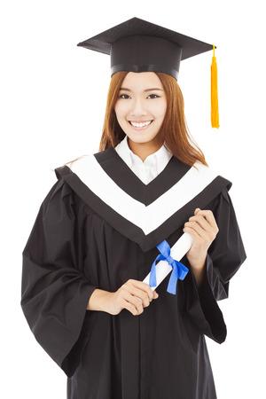 mujer feliz Graduate Holding diploma.isolated en blanco