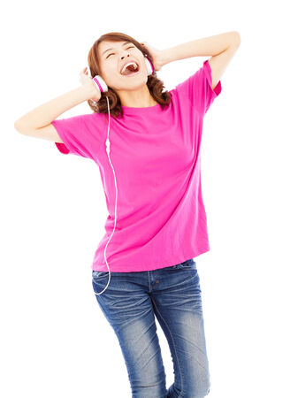 Young woman with headphones listening music photo