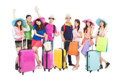 reizen: Groep vrienden of klasgenoten zijn klaar om te reizen