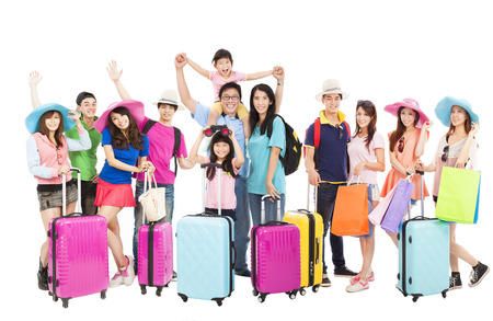 traveller: Group of happy people are ready to travel together