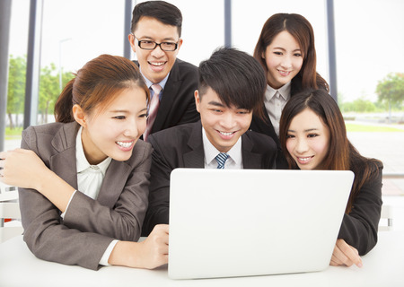 professional asian business team working in office photo