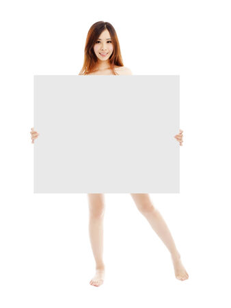 sexy asian girl: Beautiful young sexy woman holding a empty white board