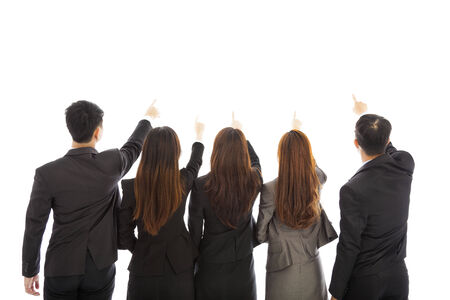 back shots:  Group of business team point the same direction. Isolated on white background