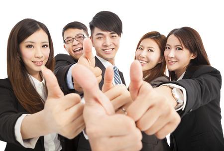 gente exitosa: Feliz negocio exitoso equipo con pulgares arriba