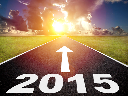 road to the 2015 new year and sunrise background photo