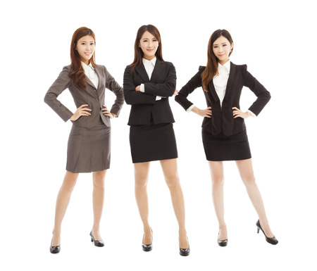 confident  young business woman team standing isolated on white Stock Photo - 29872055