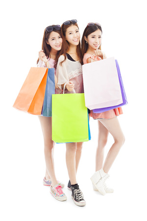 three happy asian shopping woman with bags Stock Photo - 30100137