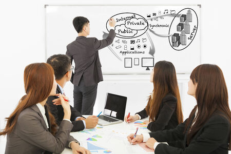 Businessman drawing about applications  of portable equipments Stock Photo - 30364834