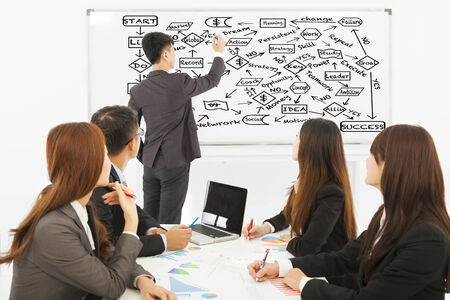 Businessman drawing a successful planning chart Stock Photo - 30364833