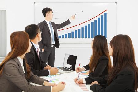 市場状況のチャートを表示するプロのビジネスマン