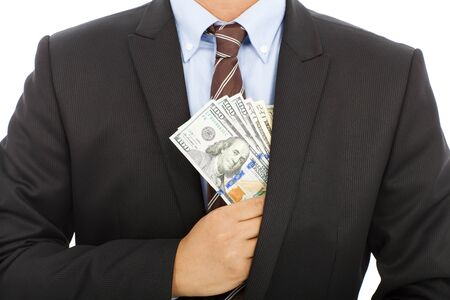 businessman hide money in the pocket with white background photo