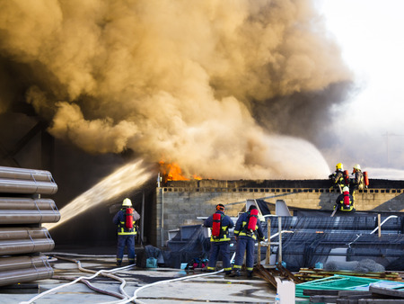 Several firefighters support to off the plant fire  photo
