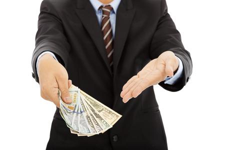 business man holding us dollar cash. isolated on white photo
