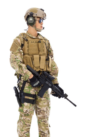 Soldier holding a Sniper on a white background photo