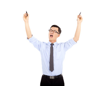 capable of learning: busy  businessman holding pens to work   isolated on white