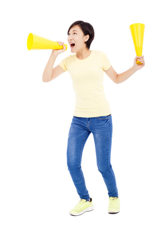 inform: young student girl holding megaphone over white