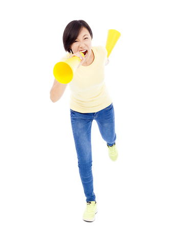 encourage: happy student girl holding megaphone over white background