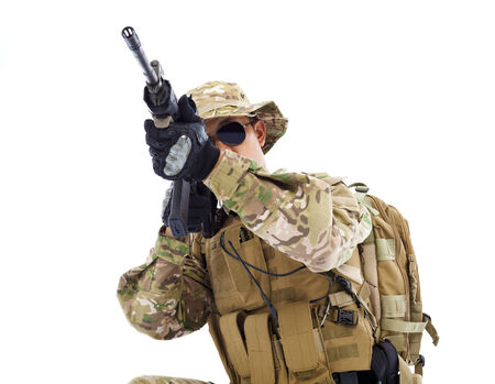 soldier with rifle or sniper ,isolated on white background photo