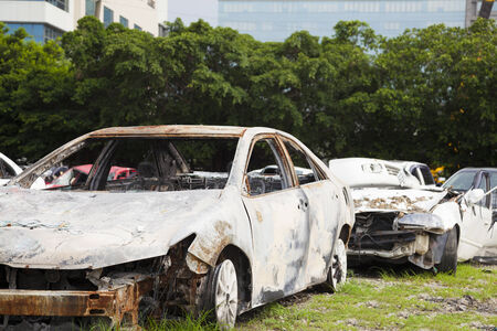 rustiness: serious rusty and unserviceable cars  in the recycling plant